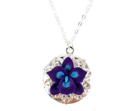 Orchid Silver Locket Necklace
