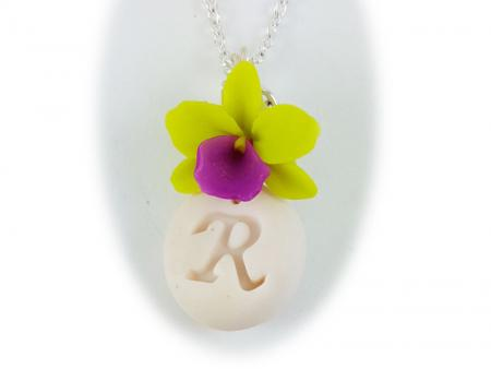 Orchid Initial Necklace