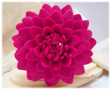 Large Pink Chrysanthemum Brooch Pin