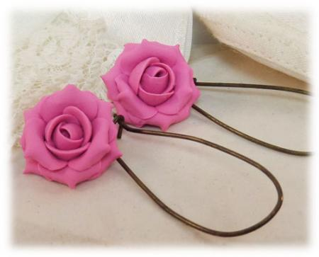 Pink Petal Rose Drop Earrings