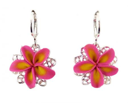 Plumeria Filigree Dangle Earrings