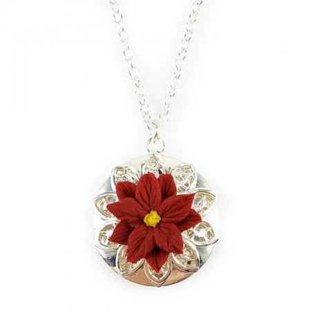 Red Poinsettia Silver Tone Locket Necklace