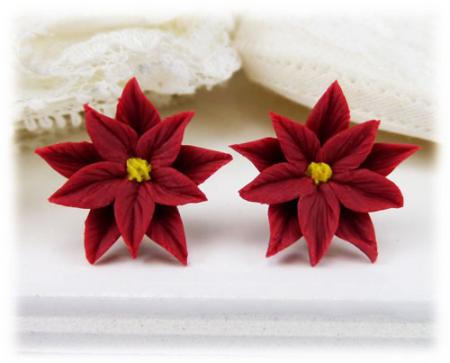 Red Poinsettia Stud Earrings