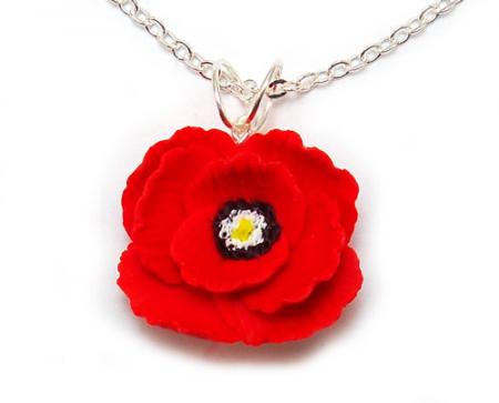 Poppy Flower Pendant Necklace