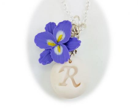 Purple Freesia Initial Necklace