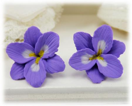 Purple Freesia Stud Earrings