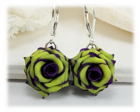 Purple Green Rose Drop Earrings