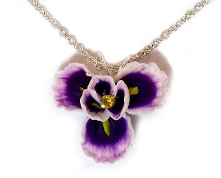 Purple Iris Flower Pendant Necklace