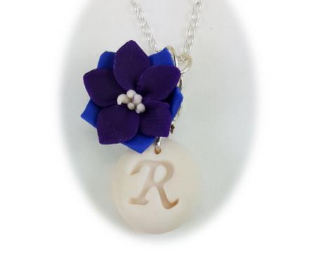 Purple Larkspur Initial Necklace