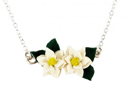 Realistic Magnolia Flower Bar Necklace