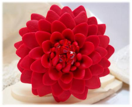 Large Red Chrysanthemum Brooch Pin