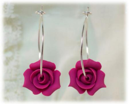 Rosebud Hoop Earrings