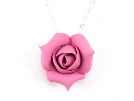 Rosebud Flower Pendant Necklace