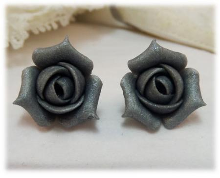 Metallic Silver Rosebud Stud Earrings
