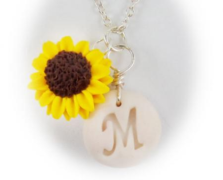 Sunflower Initial Letter Necklace