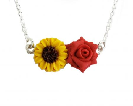 Sunflower Rose Necklace | Two Flower Garden Necklace