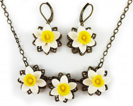 Three Daffodil Jewelry Set