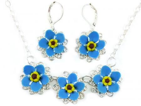 Three Forget Me Not Jewelry Set