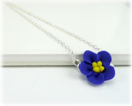 Tiny African Violet Simple Necklace
