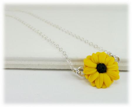 Tiny Black Eyed Susan Simple Necklace
