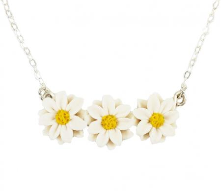 Tiny  Daisy Flower Bar Necklace