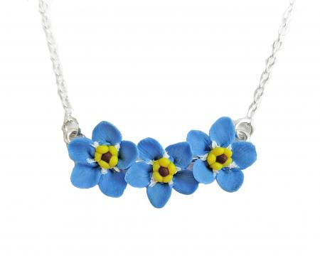 Three Tiny Forget Me Nots Necklace