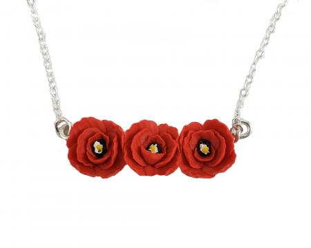 TINY POPPIES FLOWER BAR NECKLACE