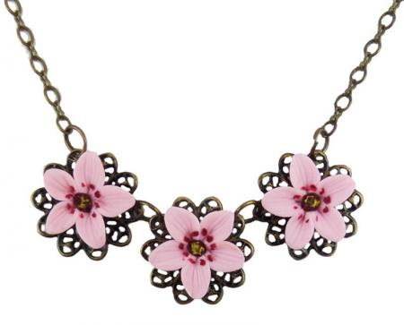 Trio Cherry Blossom Necklace