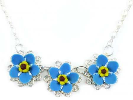 Trio Forget Me Not Necklace