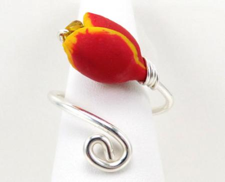 Red Tulip Ring Sterling Silver
