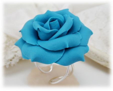 Large Turquoise Rose Adjustable Ring