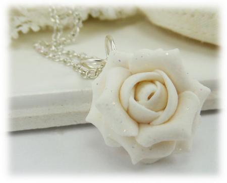 White Rose Glitter Necklace