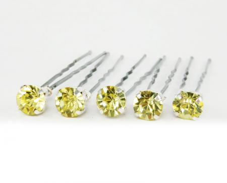Jonquil Yellow Rhinestone Hair Pins