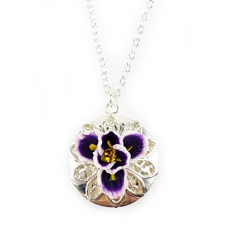 Purple Iris Locket Necklace Iris Jewelry