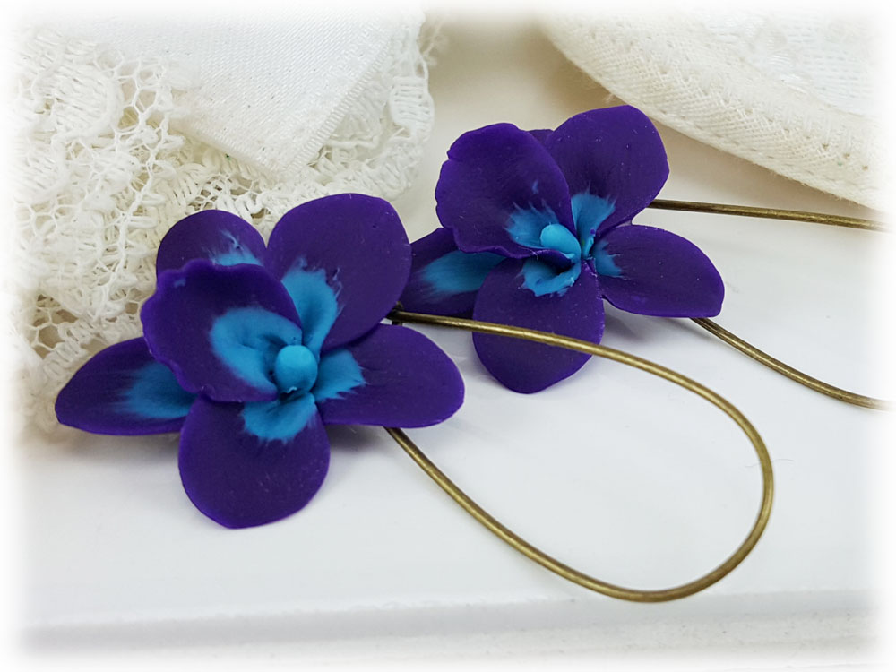 Blue Purple Orchid Flower Drop Earrings Dangle Earrings Stranded