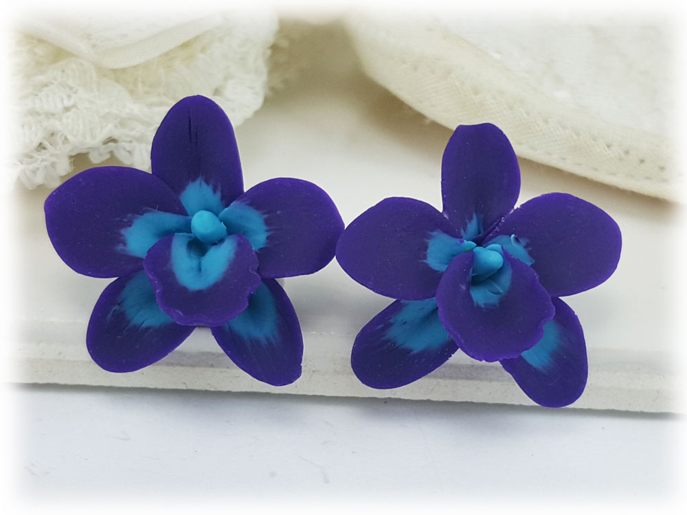 Blue Purple Orchid Flower Stud Earrings Clip On Earrings