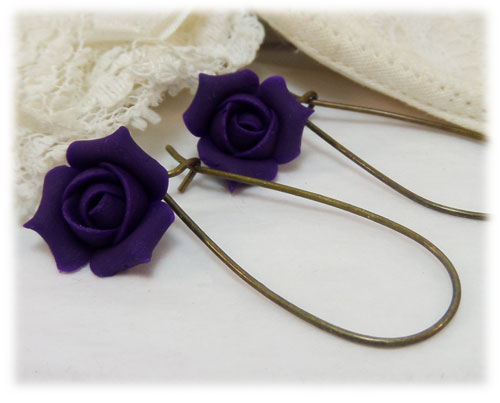 Purple Rosebud Drop Earrings