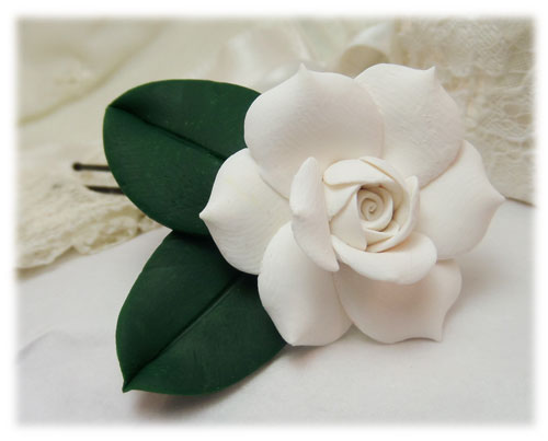 Realistic white gardenia leaf hair flowers stranded treasures realistic gardenia leaf hair flower mightylinksfo