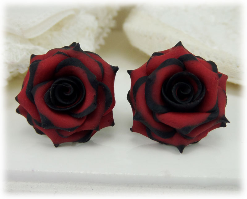 Red Black Tip Rose Earrings Black And Red Rose Studs