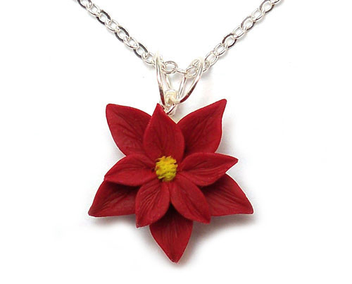 Red Poinsettia Necklace Red Poinsettia Pendant