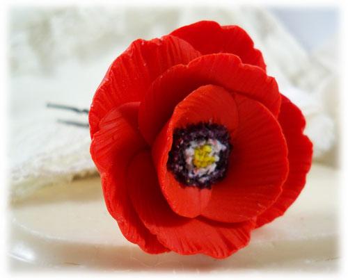 Red Poppy Hair Pins Red Poppy Hair Clips