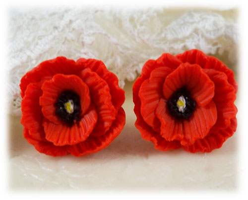 Red Poppy Stud Earrings Red Poppy Clip On Earrings