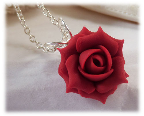 Red Rose Necklace Red Rose Jewelry Stranded Treasures