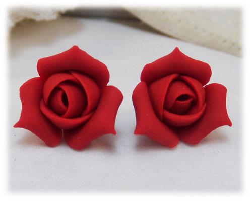 Red Rosebud Stud Earrings