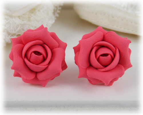 Pink Salmon Rose Stud Earrings