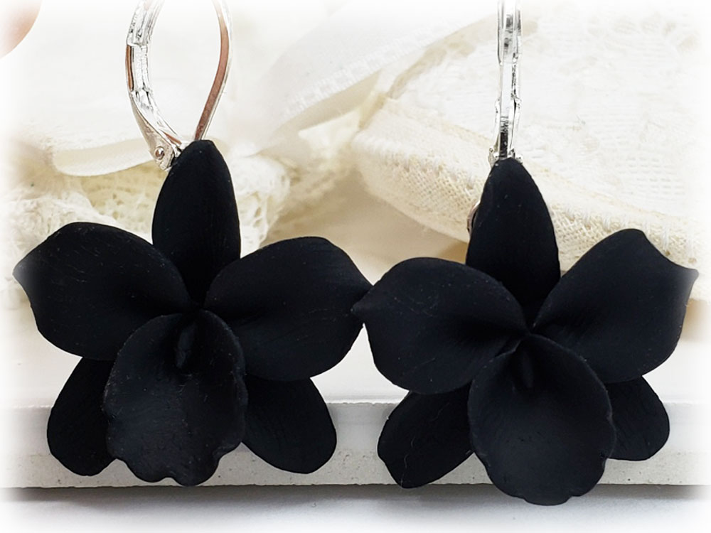 Black Orchid Flower Drop Earrings Dangle Earrings