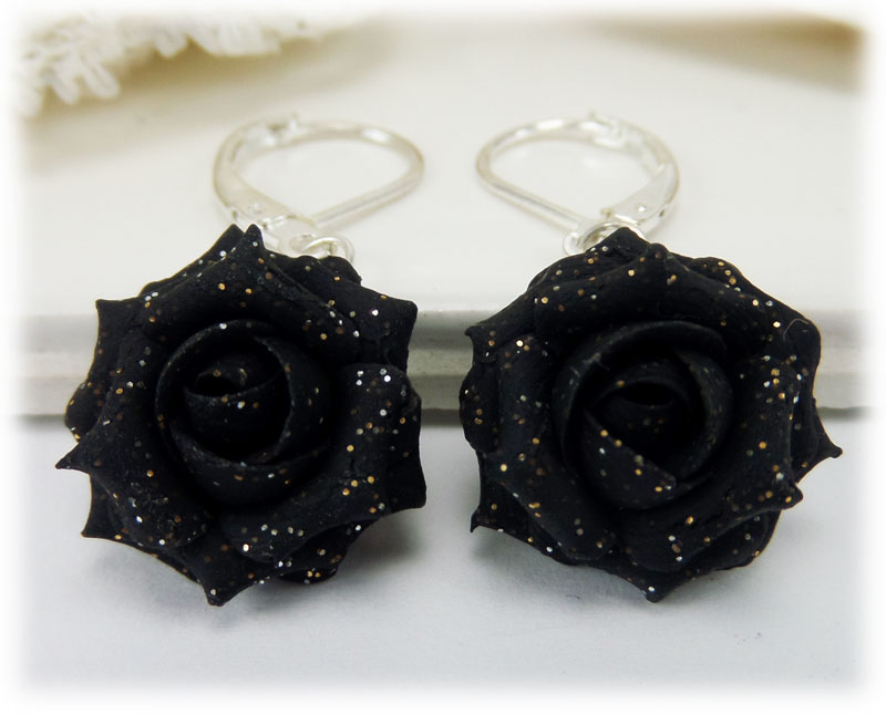 Black Rose Glitter Rose Earrings Amp Dangle Earrings