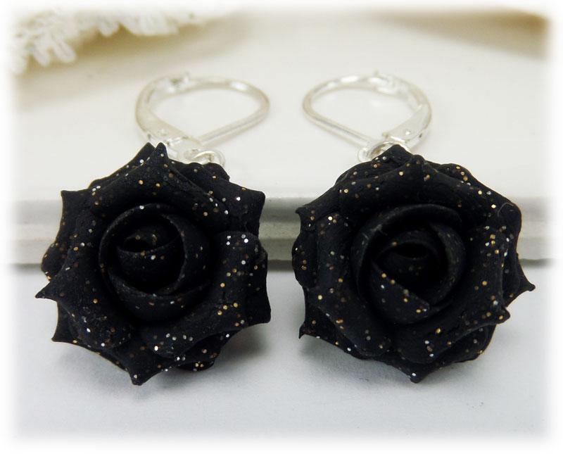 Black Rose Glitter Rose Earrings