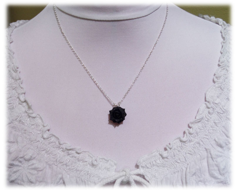 Black rose glitter necklace aloadofball Choice Image