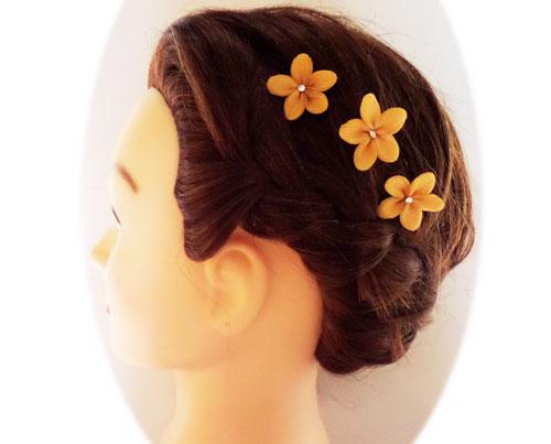 Topaz brown hair flowers brown flower hair pins topaz brown flower hair pins mightylinksfo